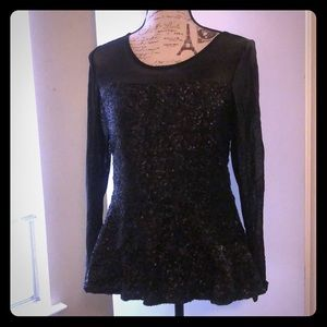 Mesh Sequin Boston Proper Blouse